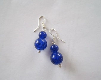 blue Glass Earrings with Silver findings