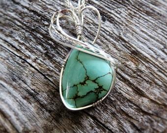 Turquoise Stone Necklace - Shades of Turquoise Necklace - Kingman Turquoise Pendant Necklace - Wire Wrapped Turquoise Pendant -