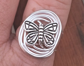 Wire Wrapped Butterfly Ring Non-Tarnish Silver Plated