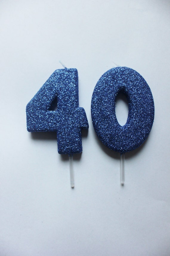 2 GLITTER BLUE CANDLE Number Birthday Cake Candles Navy Royal Dark