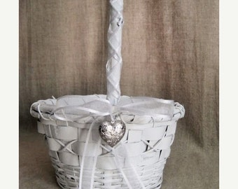 Happy 4th with 40% Off Sweet, Simple White Flower Girl Basket / Sweetheart Basket for Wedding or Reception