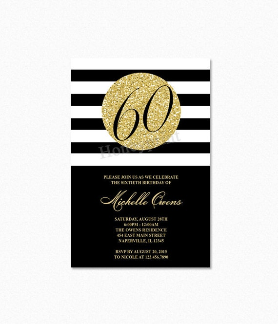 Gold 60th Birthday Party Invitation Black And White Stripes Milestone Printable Or Printed