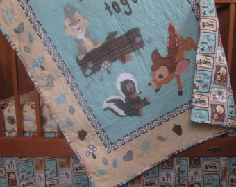 Crib Bedding Set, Baby Quilt made with Bambi fabrics, Gender neutral quilt, nursery bedding, crib quilt