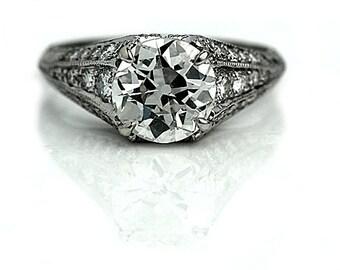 Vintage Engagment Ring 3.46ctw Antique Engagement Ring GIA Vintage Diamond Ring Old European Cut Platinum Engagement Ring!