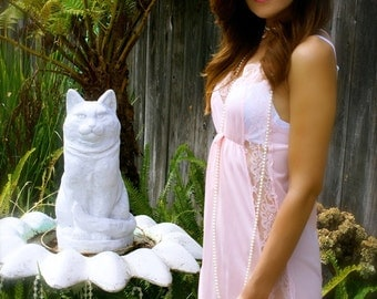 "Pristine Pale Pink 1970's Vintage Nylon and Lace Full Length Gown-""The Year of the Cat"""