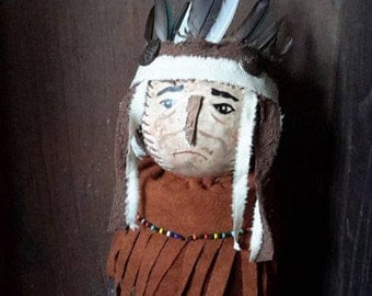 Prims magazine Primitive Chief Geronimo Native Apache Warrior American Folk Art doll, Free Shipping, softball reclaimed wood