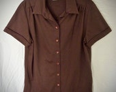 Vintage Brown 60's or 70's Blouse / Lee Mar / Short Sleeve / Pageantry / Polyester / Never Worn