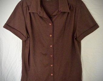 Vintage Brown 60's or 70's Blouse / Lee Mar / Short Sleeve / Pageantry Knit / Polyester / Never Worn / Ladies / Chocolate