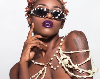 Emmanuel Vaughn's Laced in Pearls  - pearl sunglasses - custom - lace – glasses - fashion - fashionable - dope - swag - pretty girls
