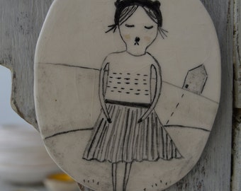 So Far Away From Home - Hanging Decor - Ceramics - Drawing - Clay Plate - Ready to Ship