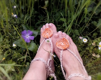 Orange Hippy Barefoot sandals boho anklets Bohemian Accessories crochet Nude shoes Yoga anklets Beach Wedding Foot jewelry Gift for her