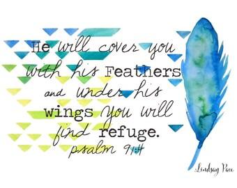 NEW Psalm 91 Art print 11x14