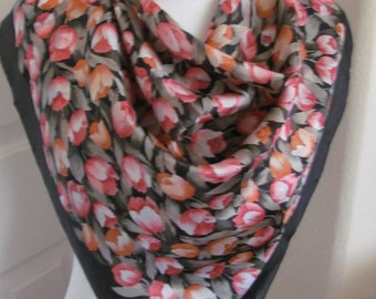 "Holland // Beautiful Black Floral Soft Silk Scarf // 29"" Inch 73cm Square // Best of the Best"