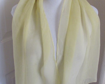 "Lovely Solid Yellow Chiffon Silk Fashion Scarf - 16 x 42"" Long"