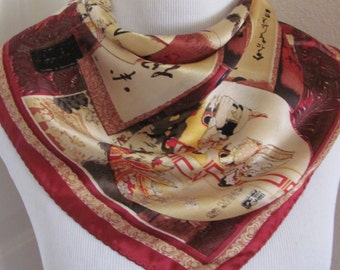 "Beautiful Colorful Asian So Soft Silk Scarf  - 21"" Inch 54cm Square"