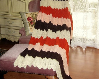 Vintage Beautiful Chevron Multicolor of Cream, Brown, Soft Coral, and Orange Handcrocheted Blanket