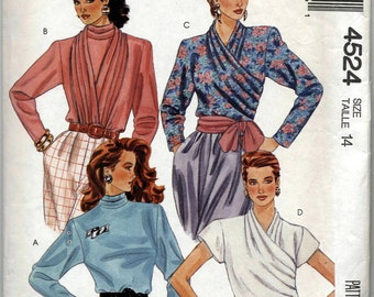 Misses' Cross Body - High Collared Blouse With Sleeve Variations and Drape Sewing Pattern - McCall's 4524 - Size 14 - UNCUT