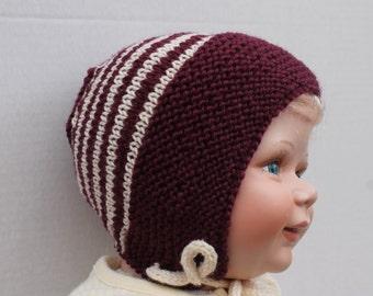 Hand Knit Merino Wool Baby Bonnet. Burgundy Baby Bonnet. Knit Wool Baby Hat with Ties. NB - 6 months Baby Bonnet. Striped Baby Bonnet.