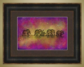PRINT or GICLEE Reproduction -- Elephant Family and Baby Abstract Elephant Limited Edition Signed Print -- 12 x 18 -- Britt Hallowell