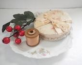 Antique Lingerie Ribbon on Spool Jacquard Silk & Alencon Lace Trim  14 Yds. Bridal Trousseau