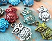 10 pcs Chic Colour washed patina bronze Filigree Owl Charm/Pendant