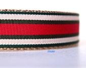 Stripe Dog Collar, Red and Green Dog Collar, Adjustable Dog Collar, Boy Dog Collar