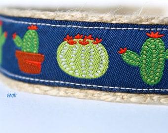 Cactus Dog Collar, Southwest Dog Collar, Adjustable Dog Collar, Boy Dog Collar, Desert Dog Collar, Navy Dog Collar