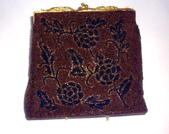 Beaded Evening Bag 1940's Little Purse Chain Handle Gold Filigree Clasp
