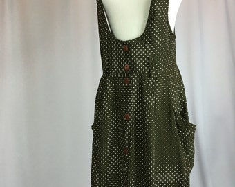 1980s vintage, brown and white polka dot, rayon jumper with pockets. Womens medium