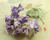 Vintage sweet cloth violet millinery corsage pin spray trim pink  purple flower flower making supply 1940 1950 1960