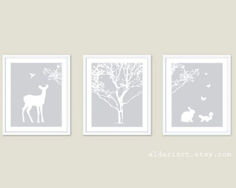 Woodland Nursery Art Prints - Nursery Wall Art Nursery Decor - Tree Fawn Bird Rabbit Squirrel Butterflies Wall Art - Grey and White