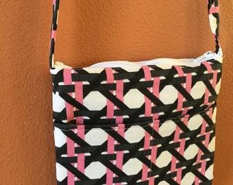 Jennette 1417E  Designer Fabric Purse, Cross Body Purse, Cross Body Bag, Bag, Bags, Pink and Black, Shoulder Purse, Shoulder Bags, Purses