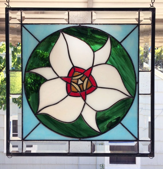 """Sego Lily Graphic- 16"""" x  16""""--Stained Glass Window"""