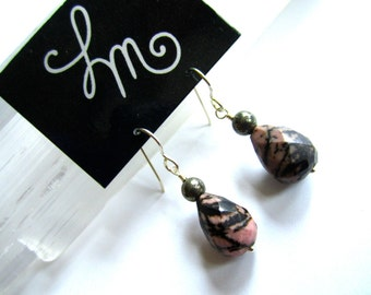 Pink Rhodonite Faceted Teardrops with Pyrite Sterling Silver Earrings by LM-inspired