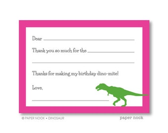 Dinosaur PRINTABLE Fill-in-the-Blank Thank You Note