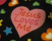 Jesus Loves Me, Hearts, Crosses with Green Couch Throw - Ready to Ship Now