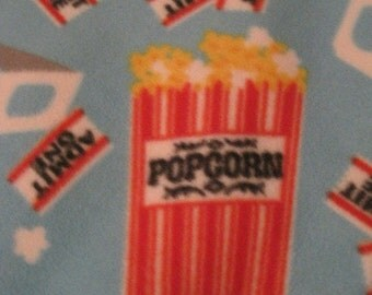 Popcorn in Red Boxes, Movie Tickets, 3D Glasses on Blue with Red Handmade Fleece Blanket