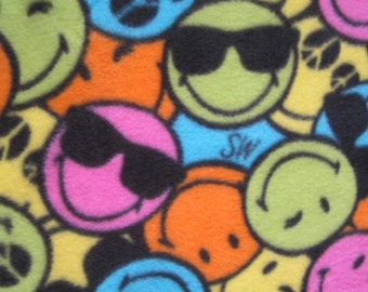 Smiling Faces Fleece Handmade 2 Layer Blanket - Ready to Ship Now