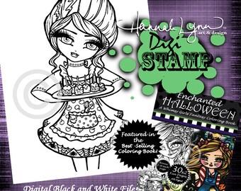 PRINTABLE Digi Stamp Frankenstein Monster Girl Enchanted Halloween Coloring Page Fun Fantasy Art Hannah Lynn
