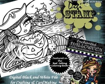 PRINTABLE Digi Stamp Ghost Ship Enchanted Halloween Coloring Page Fun Fantasy Art Hannah Lynn