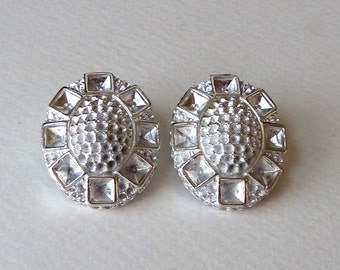 Vintage Clip Earrings with Multi Stone Settings - Deco Style Hinged Oval Clips - 29mm - High Quality Sturdy Silver Plate Earring Casting