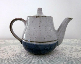 Vintage Two Cup Pottery Teapot, Light Grey Speckle, Blue and Brown Accents - Collectible - Cottage Kitchen - Tea Party - Bobann23 Kitchen