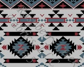 Grey Blue Black and Burgundy Geometric Aztec 4 Way Stretch Jersey Knit Fabric, Club Fabrics