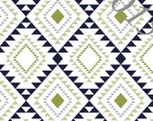 Blue Grey and Green Geometric Diamond Aztec 4 Way Stretch Jersey Knit Fabric, Club Fabrics, 1 Yard