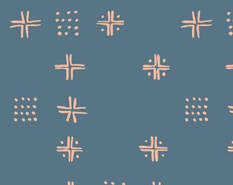 Blue and Coral Geometric Cross Jersey Knit, Tapestry by Sharon Holland Art Gallery Fabrics, Mudcloth in Blue, 1 Yard Jersey Knit