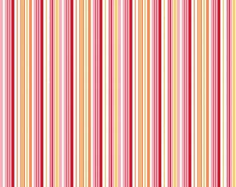 Pink Yellow and White Stripe Flannel, Fine and Dandy by Lori Whitlock for Riley Blake, 1 Yard