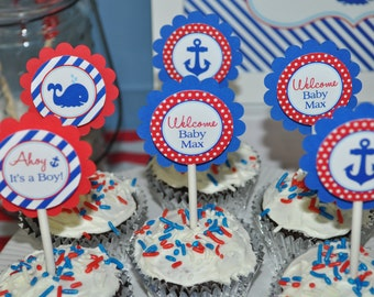 Nautical BABY SHOWER Cupcake Toppers - Boys Baby Shower Decorations - It's A Boy Cupcake Toppers - Whales and Anchors - Set of 12