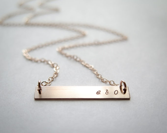 Customized Word Name Gold Bar Necklace - Hand Stamped Jewelry - Layering Necklace by Betsy Farmer Designs