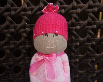 Adorable Small Sock Doll dressed in Pink