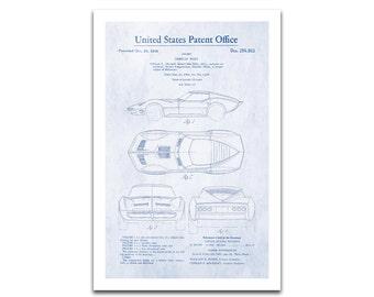 Chevy Corvette Patent Art Giclee on archival matte paper